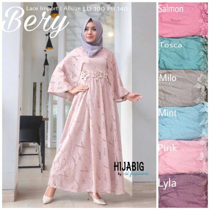 Long Dress Maxi Wanita Gaun Pesta Brokat Lace Import Bery Cape pink