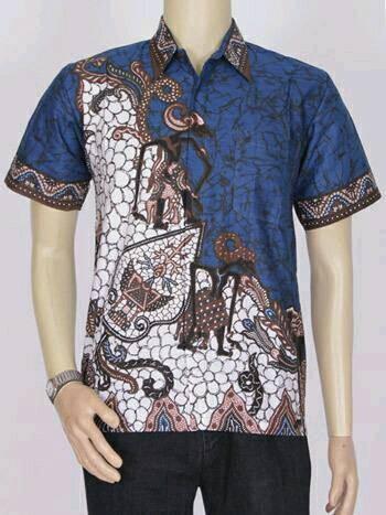 Jual Model Baju Batik Modern Kemeja Batik Pria Motif Wayang Biru Kota Bandung Toko Semft Tokopedia