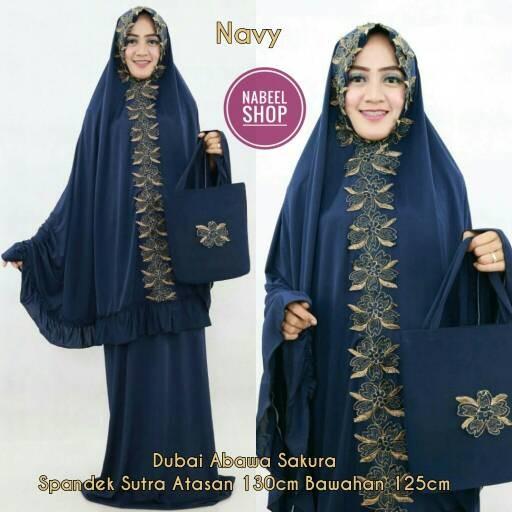 harga Mukena dubai cantik elegan spandek sutra terbaru abawa navy biru donke Tokopedia.com
