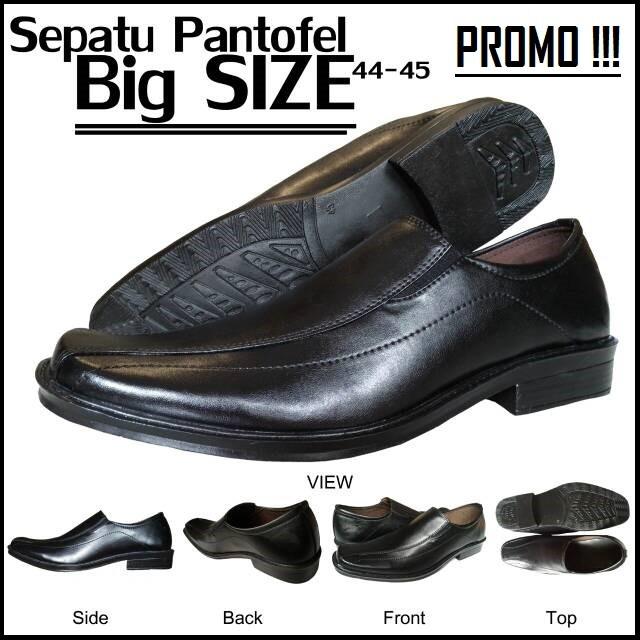 SEPATU PANTOFEL PRIA UKURAN BESAR / BLACK PANTOPEL BIG SIZE 44 & 45