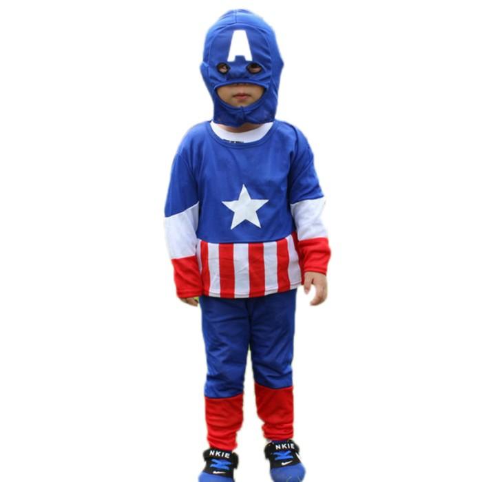 Size m baju setelan kostum anak superhero captain america+topeng kain