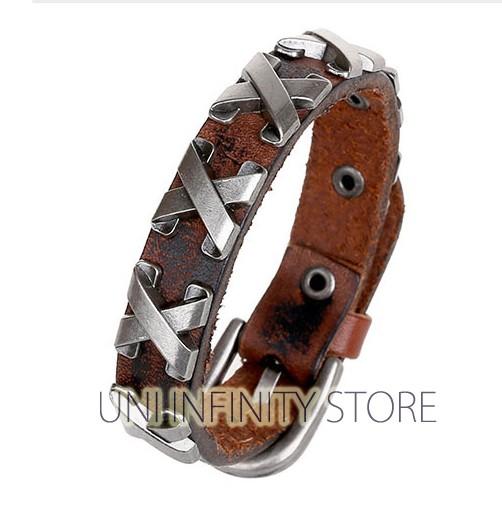 harga Jwwb0014 gelang pria kulit coklat simple brown multi x leather bracele Tokopedia.com