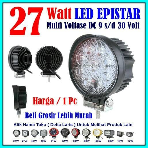 harga Lampu Tembak Lampu Sorot Led Mobil Motor 27watt Spot Light Offroad Tokopedia.com