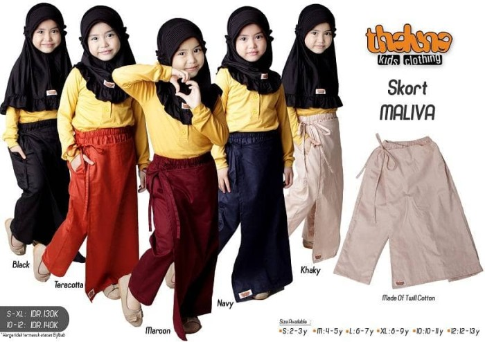 Diskon skort maliva - thaluna kids /celana rok anak /celana… bawah