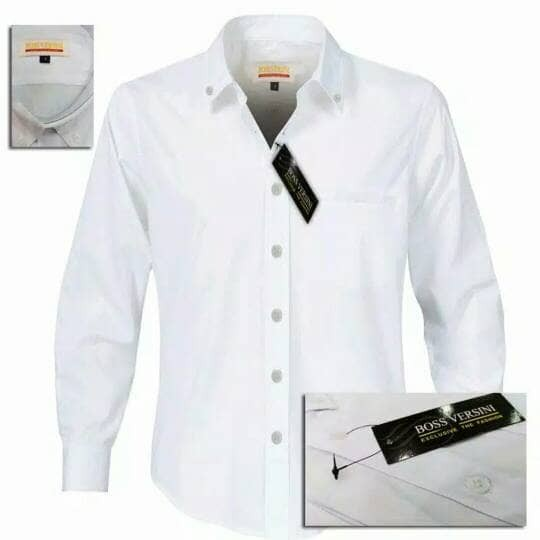 Baju formal putih polos | Kemeja formal pria | Baju Kantor - Putih, S