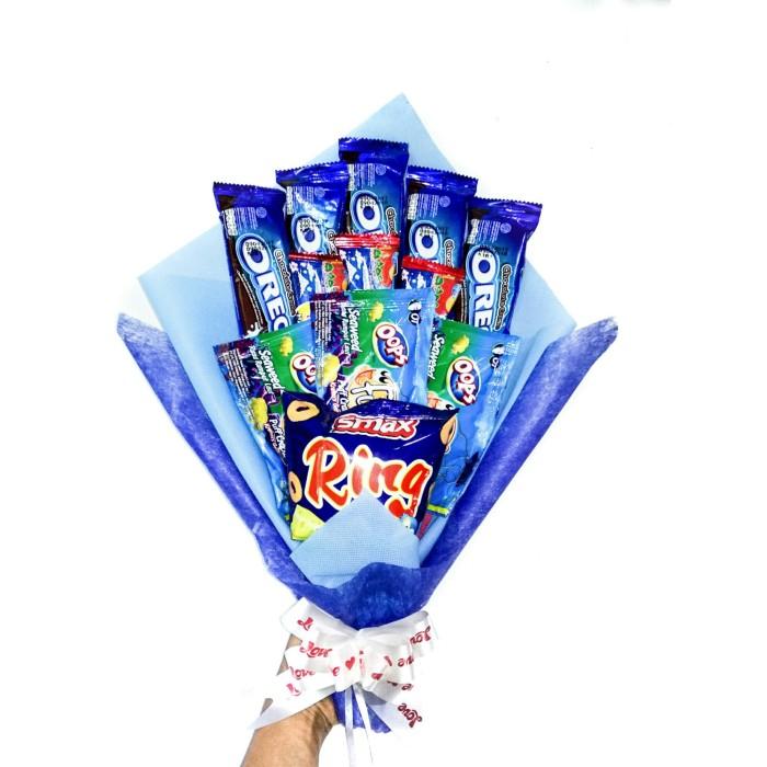 harga Blue snack bouquet / bucket snack / snack bucket / snack buket Tokopedia.com
