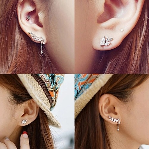 Anting Korea Daun Asimetris Asymmetric Leaf Clip Dangle Earring Beauty