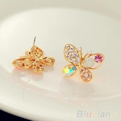 Anting Korea Ladies Lovely Crystal Rhinestone Butterfly Stud Earring