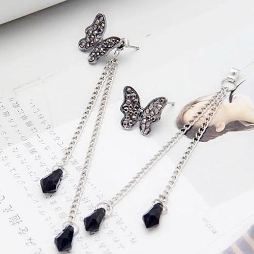 Amefurashi Anting Korea Meteor Crystal Rhinestone Clip Earring Source Anting Korea Butterfly Long Tassel Dangles Rhinestone
