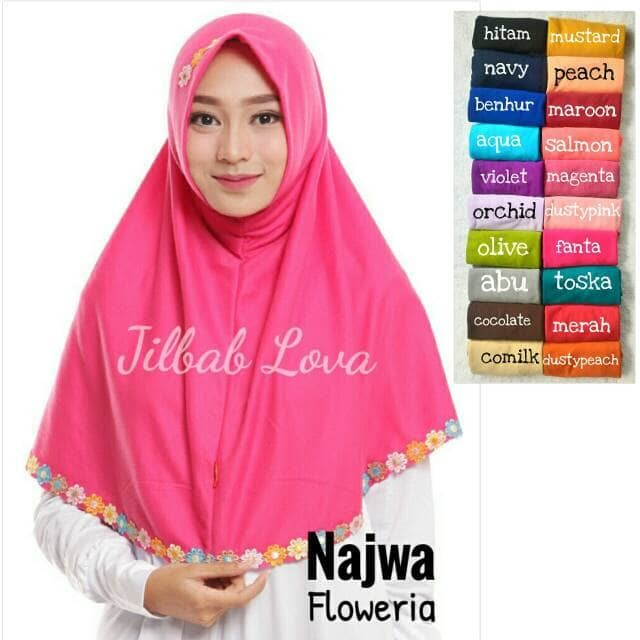 harga Jilbab kerudung hijab bergo syria instan syar`i najwa flower Tokopedia.com