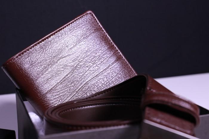 Gesper Ikat Pinggang Pria & Dompet Kulit Branded Impor (paket Hemat)