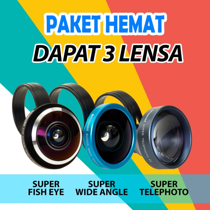 harga [promo paket] 3 lensa kamera hp super telephoto wide fish eye polaroid Tokopedia.com