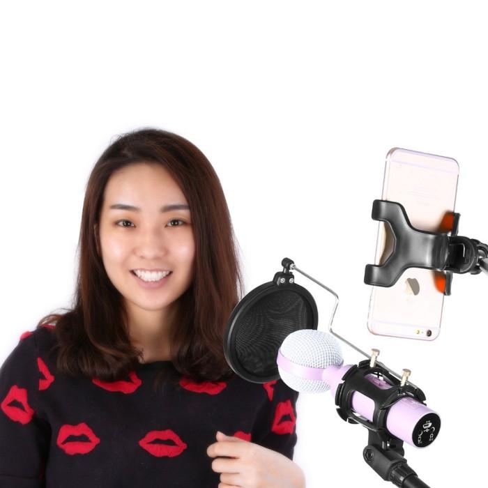 harga Microphone smartphone stand holder 360 degree mic pop filter boom arm Tokopedia.com