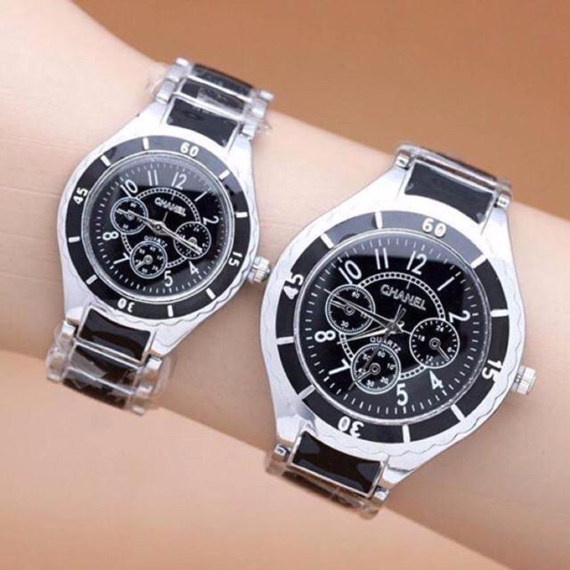 harga Jam tangan couple chanel rantai silver plat hitam sph ch001 Tokopedia.com