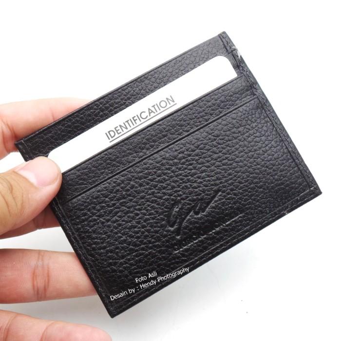 Dompet kartu card holder kulit asli impor - Giorgio Agnelli 654 Black