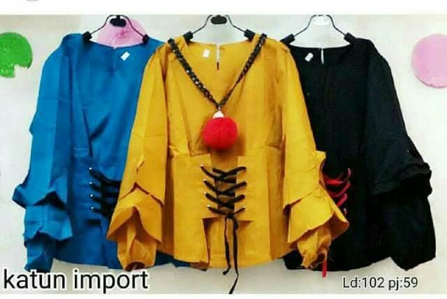 harga Agu102 blouse katun import baju atasan wanita polos lengan panjang Tokopedia.com