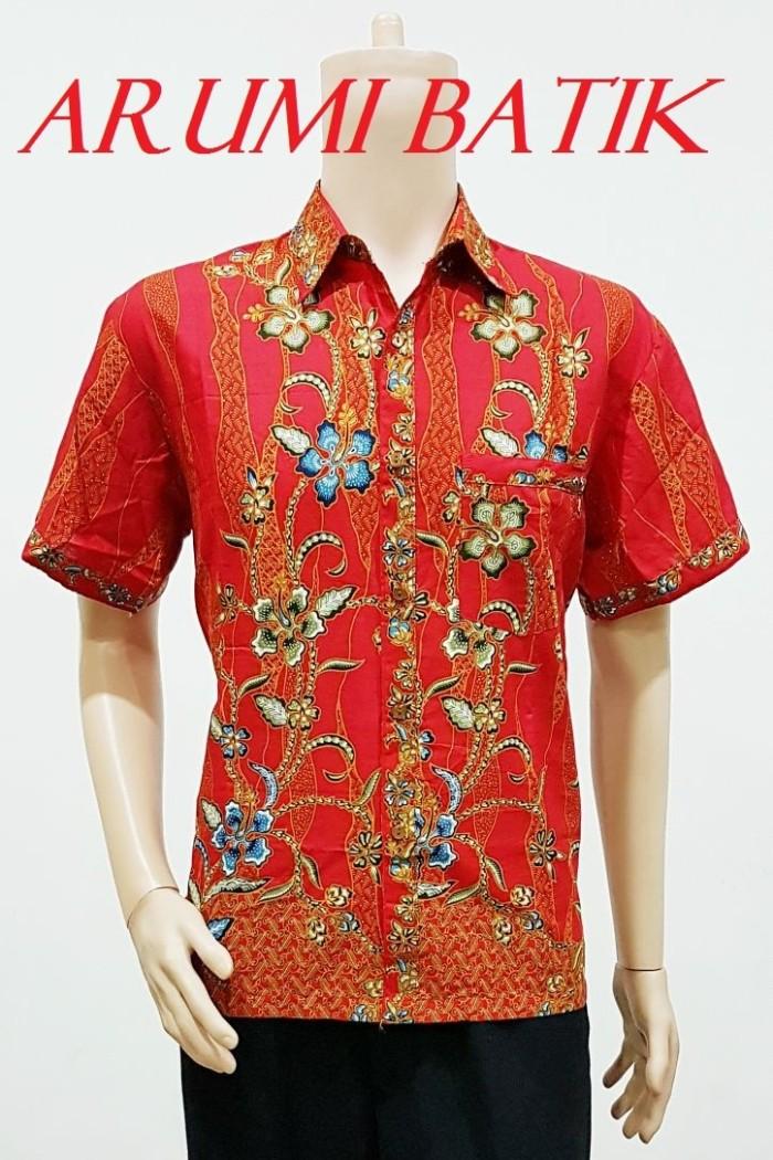 Kemeja / hem / atasan / baju / seragam pria batik 2023 merah