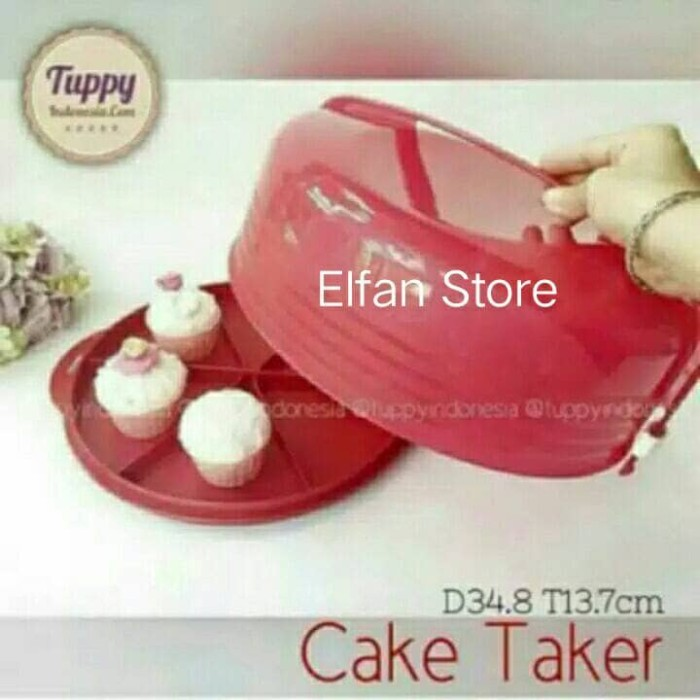 Tupperware cake taker merah
