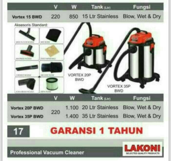 harga Vacum cleaner vortex 20 bwd lakoni Tokopedia.com