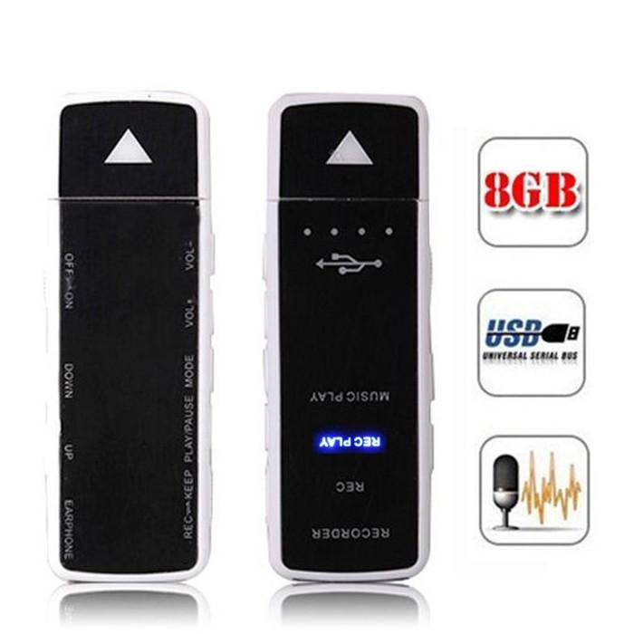 harga Mini usb 2.0 rechargeable audio voice recorder - white (8gb) + mp3 player Tokopedia.com