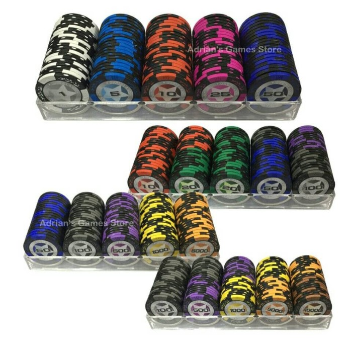 harga 100pieces of chips+1 chip box fancy combination poker chips sets 5 dif Tokopedia.com