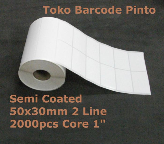 harga Semi coated 50x30mm 2line 2000pcs gap core1 label stiker barcode Tokopedia.com