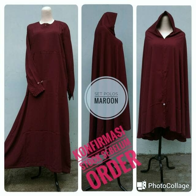 Jual Setelan Gamis Polos Cadar Tali Jilbab Warna Merah Marun