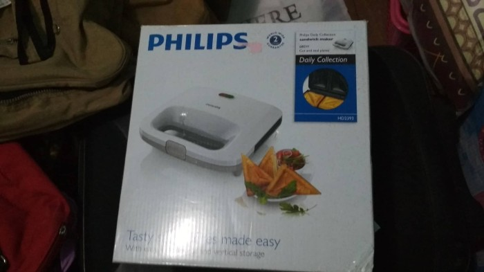 PHILIPS SANDWICH MAKER HD2393 / PEMANGANG ROTI HD 2393 PUTIH