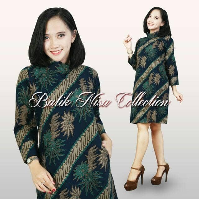 Jual Baju Batik Dress Terusan Wanita Parang Daun 1 Resleting Katun Cap Solo Dki Jakarta Batik Nisa Colection Tokopedia