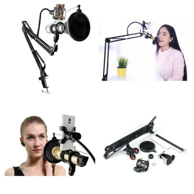 harga Condenser microphone & phone stand holder 360 degree for recording Tokopedia.com