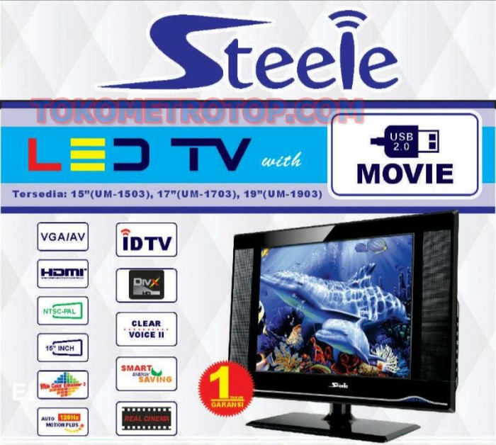tv 15 inch. TV Led Steele 15 INCH TV+Monitor Usb HDMI Tv Inch