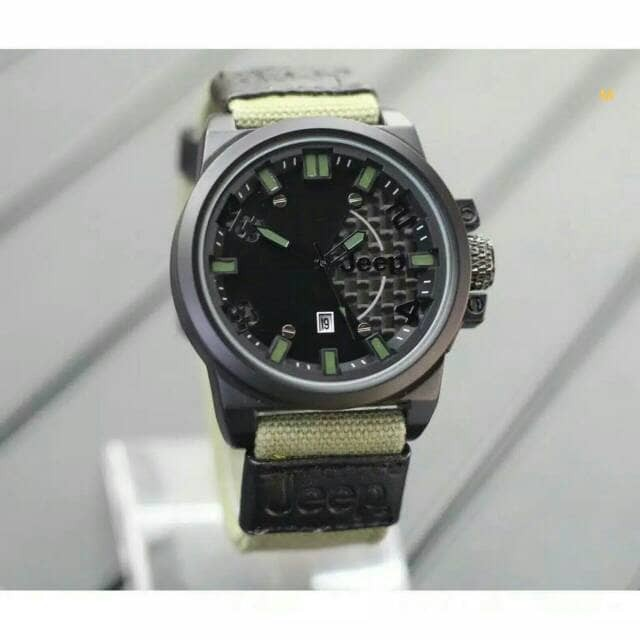 Jam Tangan Sport Pria Jeep Canvas Date New Design Green Army