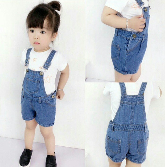 Overall kellen denim kids [baju anak 0106] qho