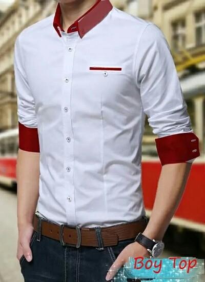 Kemeja cowok putih maroon lengan panjang boy top atasan pria kantor