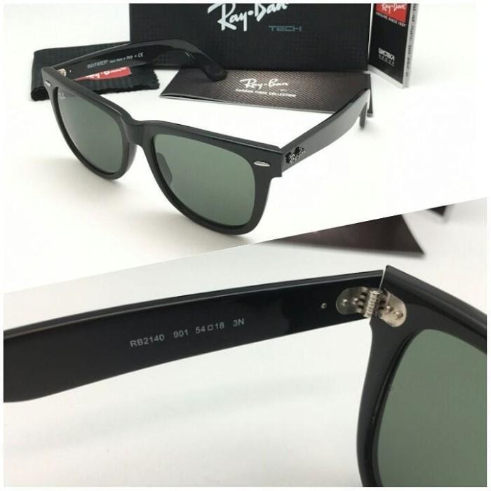 ab9570640a07e8 ... shop harga kacamata sunglasses pria wanita rayban 2140 wayfarer large  black tokopedia 42211 7cd9c