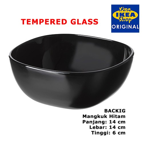 harga Ikea backig mangkuk hitam 14x14x6 cm tempered glass Tokopedia.com