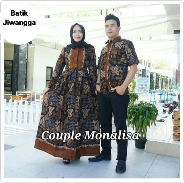 Jual Baju Batik Couple Sarimbit Gamis Monalisa Hitam