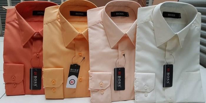 harga Sale 35%kemeja boss polos pendek size 14.5-16 ( oranye kuning krem) Tokopedia.com