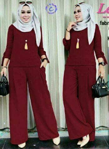 Foto Produk Baju Busana Muslim Setelan Kulot Wanita CRM Hijab Levita Maroon dari Djeeva Store