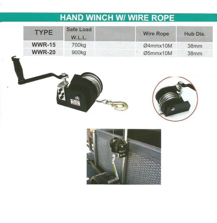 harga Hand winch with wire rope - handle putar atas - wipro wwr15 Tokopedia.com