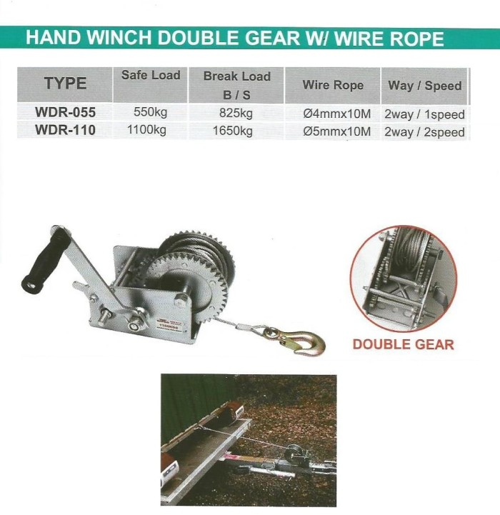 harga Hand Winch Double Gear With Wire Rope - Wipro Wdr110 Tokopedia.com
