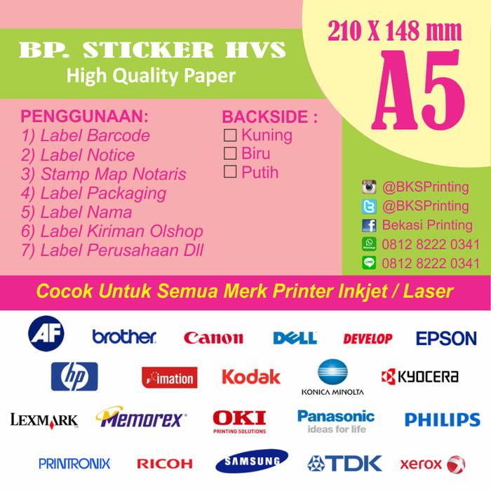 photograph about Printable Sticker named Jual Kertas Stiker HVS A5 / Printable Sticker (bisa di Print) - Kab. Bekasi - jasacetakindonesia Tokopedia