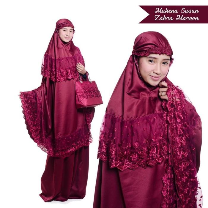 Mukena brukat susun zahra ( maroon )