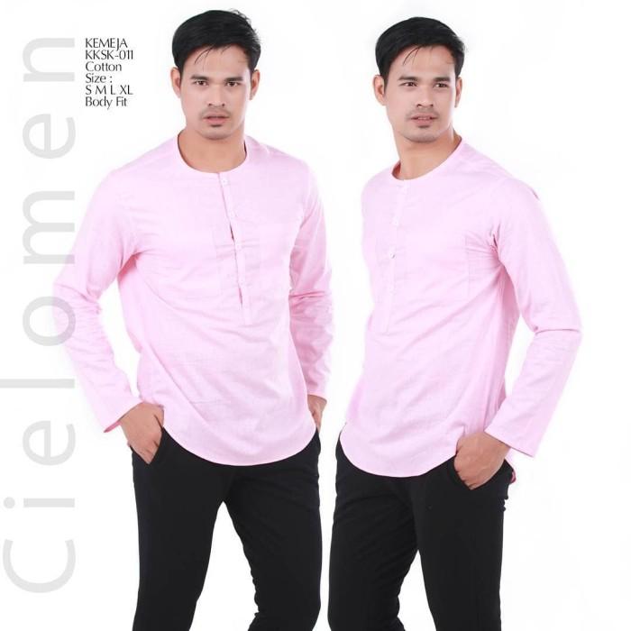 Kemeja casual kksk-011 baju koko exclusive butik quality tanpa kerah