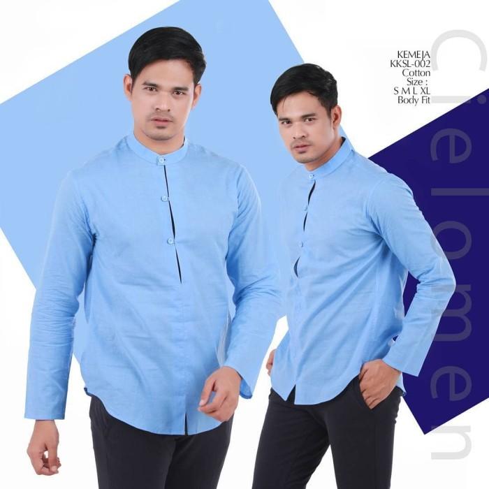 Kemeja casual kksl-002 baju koko exclusive butik quality tanpa kerah