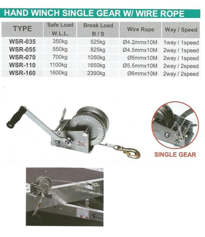harga Hand Winch Single Gear With Wire Rope Sl. 1100 Kg - Wipro Wsr1100 Tokopedia.com