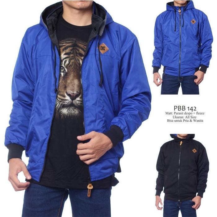 harga Jaket dc pria bolak-balik bahan parasut despo fleece biru hitam Tokopedia.com