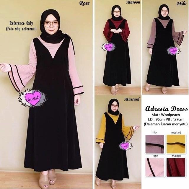 Baju muslim wanita gamis maxi maxy lengan panjang - adresia dress