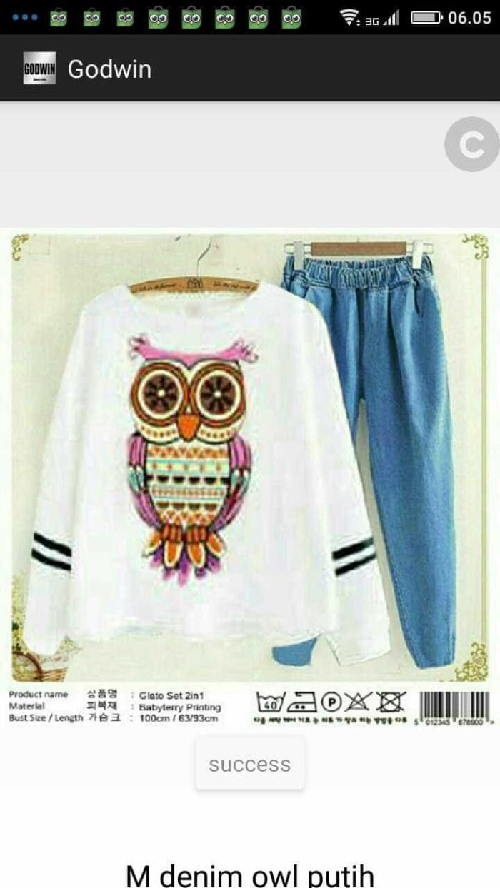 Jual CGD Denim Owl Putih Setelan Wanita Jakarta Utara C&R Collections