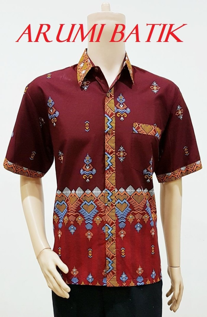 Kemeja / hem / atasan / baju / seragam pria batik 1549 maroon